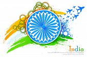stock photo of ashoka  - vector illustration of grungy Indian Flag with Ashoka Chakra and flying jet - JPG