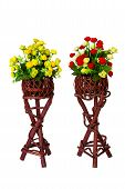 Decoration And Collection Of Fabric Artificial Flowers In Wooden Stand Over White Background