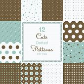 foto of symmetry  - 12 Cute different dotted vector seamless patterns  - JPG