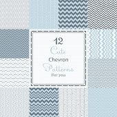 stock photo of chevron  - 12 Cute different vector seamless patterns  - JPG