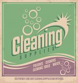 stock photo of soapy  - Vintage poster design for cleaning service and cleaning supplies - JPG