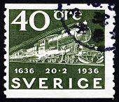 Postage Stamp Sweden 1936 Mail Train