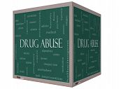Drug Abuse Word Cloud Concept On A 3D Cube Blackboard