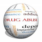 Drug Abuse 3D Kugel Word Cloud Konzept