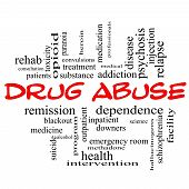stock photo of heroin  - Drug Abuse Word Cloud Concept in red caps with great terms such as addiction heroin disease relapse and more - JPG