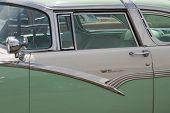 1956 Ford Fairlane Crown Victoria Green White Close Up