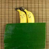 stock photo of banana  - Lovely banana couple sleeping on bamboo mat with banana leaf as blanket - JPG