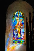 picture of christchild  - Stained glass madonna and child in old Norman church - JPG