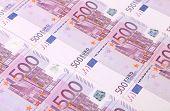 Five hundreds euro banknotes background.