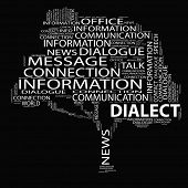 picture of dialect  - High resolution concept or conceptual white dialect tree word cloud on black background wordcloud - JPG