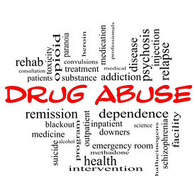 stock photo of methadone  - Drug Abuse Word Cloud Concept in red caps with great terms such as addiction heroin disease relapse and more - JPG
