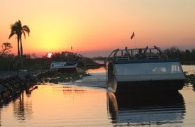 stock photo of airboat  - airboat sunset - JPG