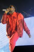 Kanye West performing live.