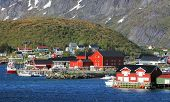 image of reining  - Norway village Reine with red house at day - JPG
