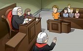 image of magistrate  - This vector shows the action and imitated situation of trial in the court - JPG