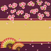 Background With Japanese Cherry Tree Sakura And Fans
