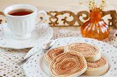 Bolo De Rolo (swiss Roll, Rollcake) Cup Of Tea Vase On Tray