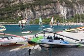 Windsurfing On Torbole Lake Garda, Italy