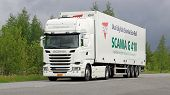 Scania R410  Euro 6 V8 Semi Truck On The Road
