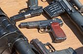Samara, Russia - May 31, 2014: Russian Weapons. Automatic Pistol Of Stechkin Was Produced In A Sovie