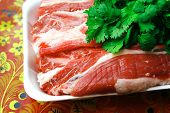 image of fresh raw marble ribs on white plate
