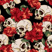 stock photo of voodoo  - Skull and Flowers Seamless Background Day of The Dead - JPG