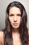 Serious Looking Female Model With Dark Hair