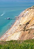 Alum Bay beach Isle of Wight by the Needles tourist attraction