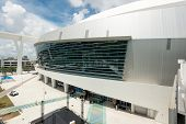 MIAMI,USA - JUNE 1,2014 : The Miami Marlins Major Leagues baseball stadium in Little Havana