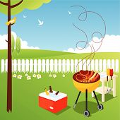 stock photo of bbq party  - Garden bbq party - JPG