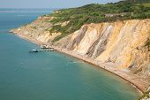 Alum Bay Isle of Wight beautiful beach and rocks next to the Needles tourist attraction