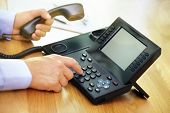 stock photo of keypad  - Dialing telephone keypad concept for communication - JPG