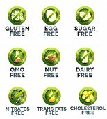 image of trans  - Food diet icon collection set human health care diets such as gluten free sugar free nut free GMO free egg free dairy free nitrates free trans fats free cholesterol free - JPG