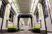 VALENCIA, SPAIN - JUNE 9, 2014: Inside a Metro subway car in Valencia. The  metro network consists o