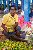 HIKKADUWA, SRI LANKA - FEBRUARY 23, 2014: Local street vendor selling lemons. The Sunday market is a
