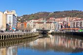 image of basque country  - Bilbao Basque Country Spain cityscape at bright sunny day - JPG