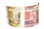 stock photo of nelson mandela  - two south african bank notes with elephant and lions heads - JPG