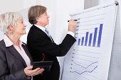 Two Businesspeople With Calculator In Front Of Flipchart