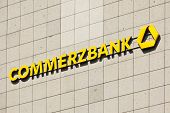 Dusseldorf, Germany - August 20, 2011: Commerzbank signage on tiled wall. Commerzbank AG is the second-largest bank in Germany, headquartered in Frankfurt am Main.