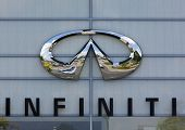 Dusseldorf, Germany - June 12, 2011: Infiniti logo on the facade of car dealer's building. Infiniti is the luxury brand of car manufacturer Nissan Motors.