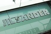 Dusseldorf, Germany - August 20, 2011: Jil Sander signage above store entrance. Jil Sander AG is a f