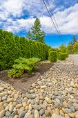 Outdoor stone landscape garden in North Vancouver, British Columbia, Canada.