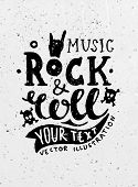 Vintage Label, Rock and Roll Style. Typography Elements. Concrete Background Texture.