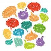Multicolored set of speech bubbles (russian language)