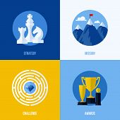 Set Of Modern Flat Vector Business Elements. Concepts for strategy mission challenge awards