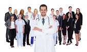 picture of medical staff  - Hospital staff represented by both the medical profession in the form of a doctor and the business administrators - JPG
