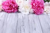 Beautiful pink and white peonies on color wooden background