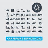 car repair, service center icons set, vector