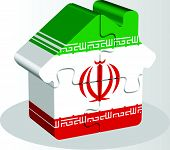 picture of iranian  - Vector illustration of house home icon with Iranian flag in puzzle isolated on white background - JPG