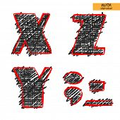 art sketch set of vector character fonts, uppercase symbols, letters X, Y, Z, sign point, semicolon